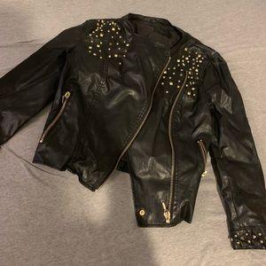 Zara black and gold studded leather jacket